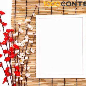 กรอบรูปสีขาว ดอกไม้ ม่านญี่ปุ่น